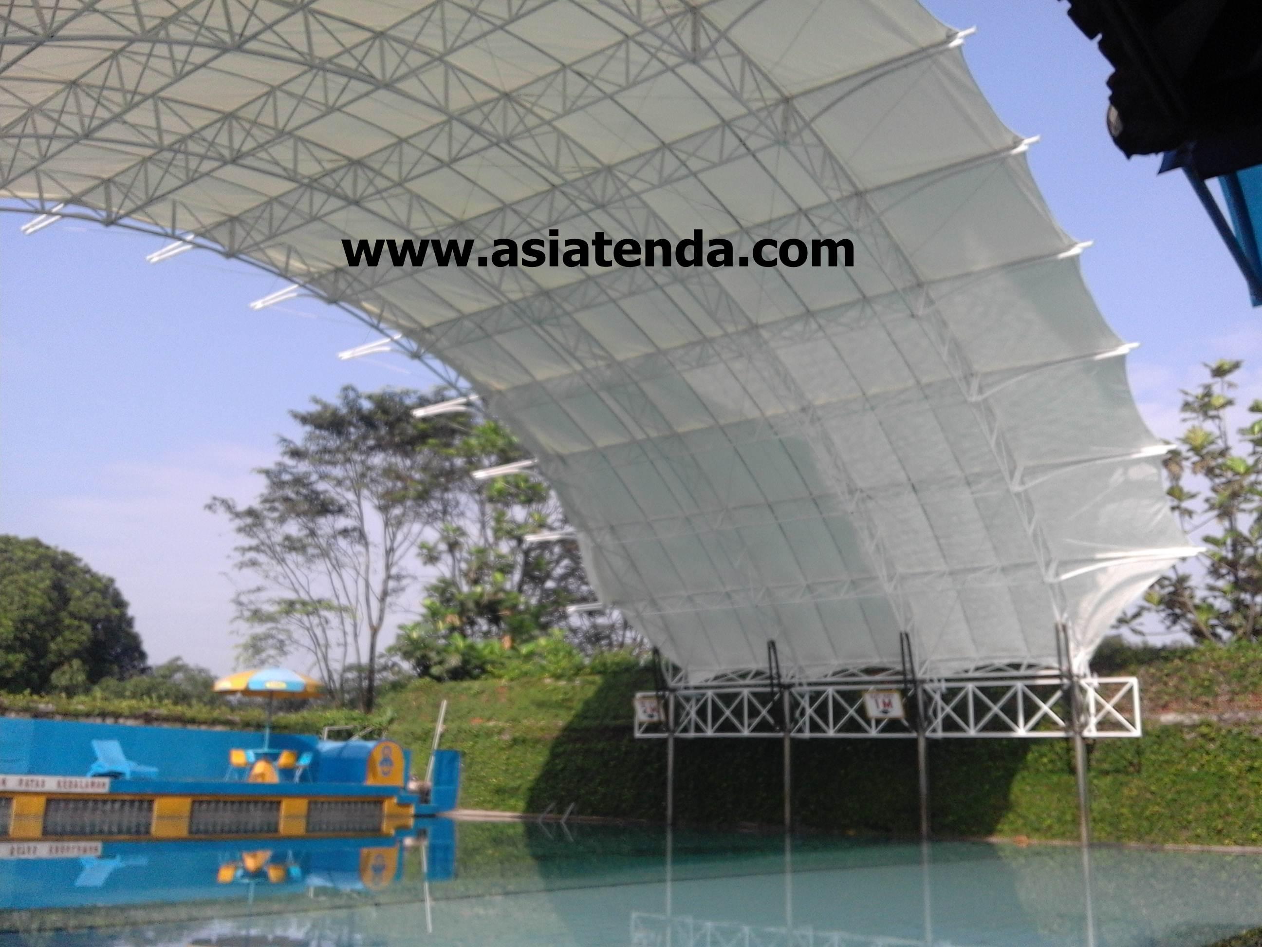 portofolio tenda membrane shade  kolam renang samping kanan